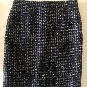 J. Crew Pencil Skirt Blue with Metallic Accents